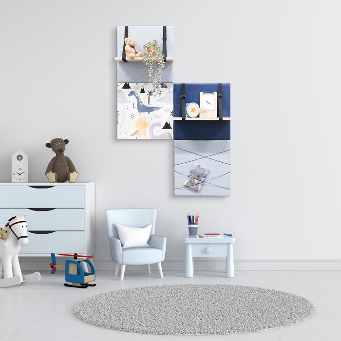 Blauwe wanddeco - set 4 panelen - combi 10