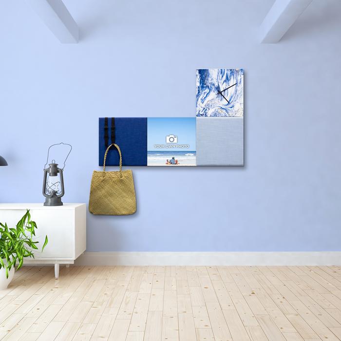 Blauwe wanddeco - set 4 panelen - combi 2