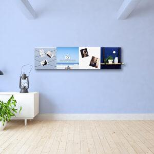 Blauwe wanddeco - set 4 panelen - combi 3