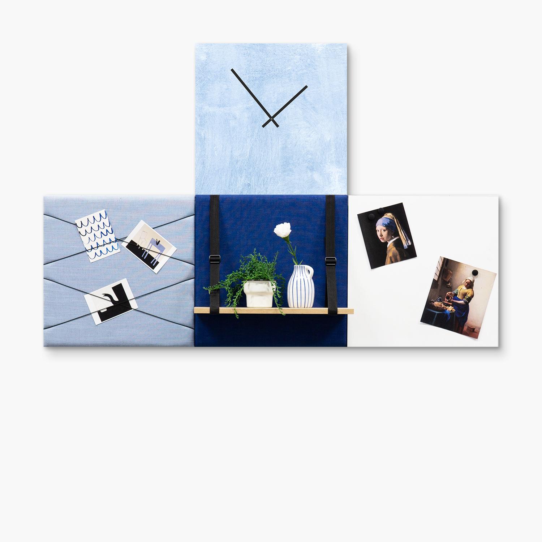Blauwe wanddeco - set 4 panelen - combi 4