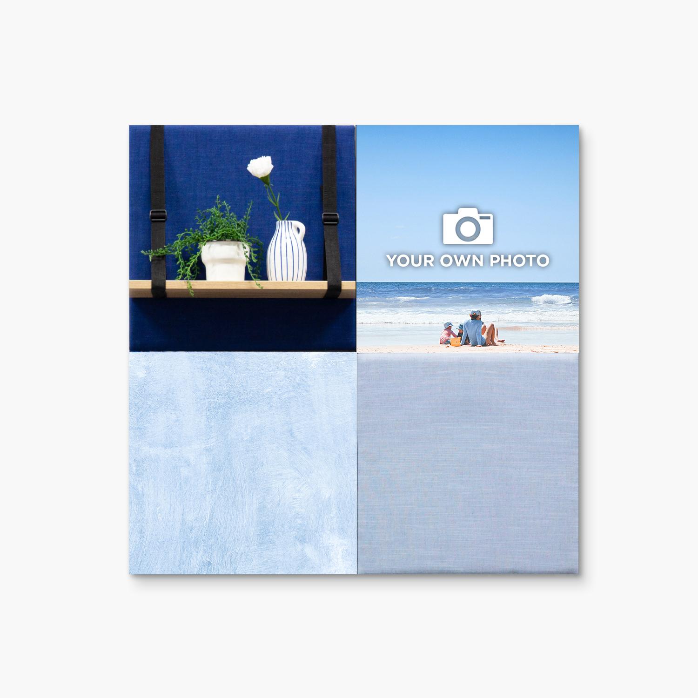 Blauwe wanddeco - set 4 panelen - combi 5