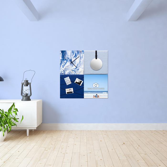 Blauwe wanddeco - set 4 panelen - combi 8