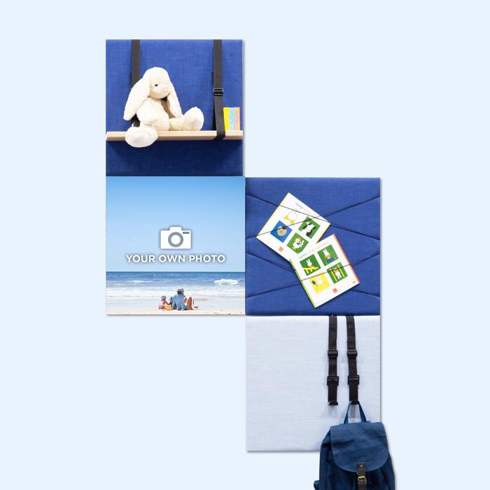 Blauwe wanddeco - set 4 panelen - combi 9