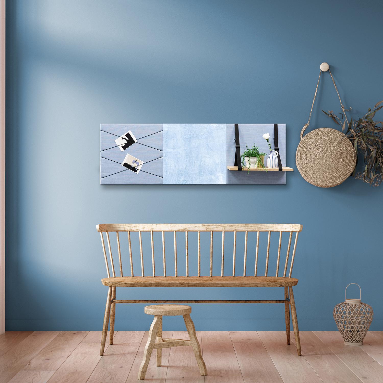 Blauwe wanddeco - set 3 panelen - combi 10