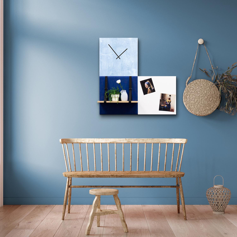 Blauwe wanddeco - set 3 panelen - combi 1