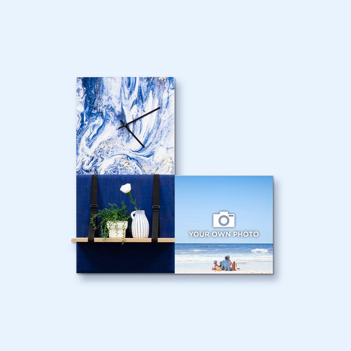 Blauwe wanddeco - set 3 panelen - combi 2