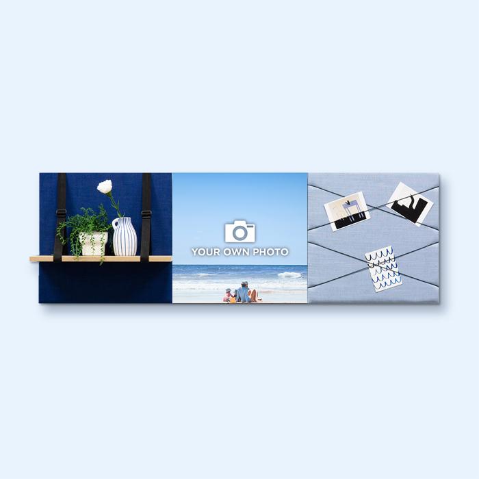 Blauwe wanddeco - set 3 panelen - combi 3