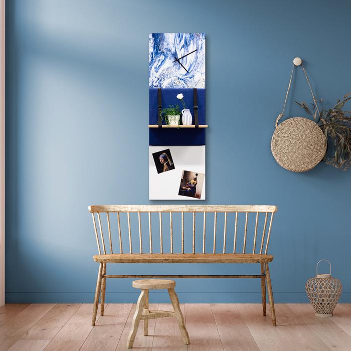 Blauwe wanddeco - set 3 panelen - combi 4
