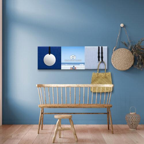Blauwe wanddeco - set 3 panelen - combi 5