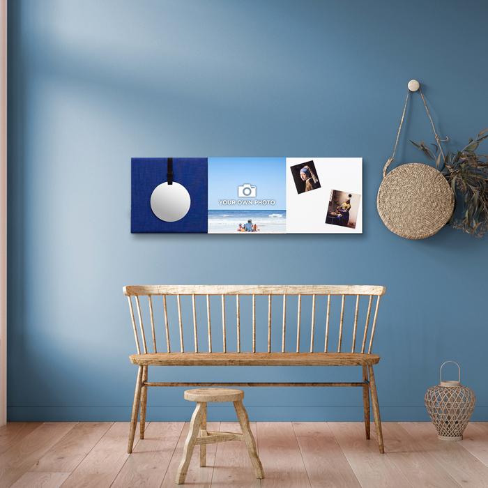 Blauwe wanddeco - set 3 panelen - combi 6