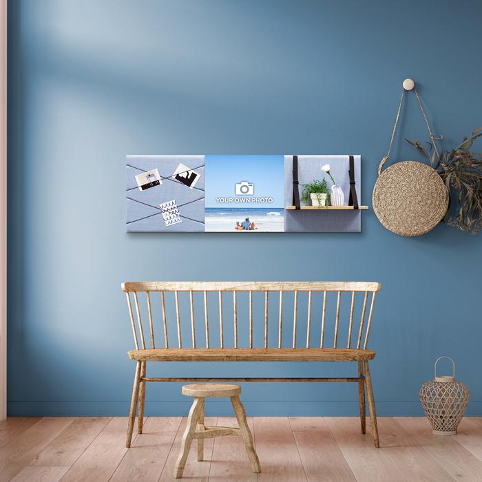Blauwe wanddeco - set 3 panelen - combi 7
