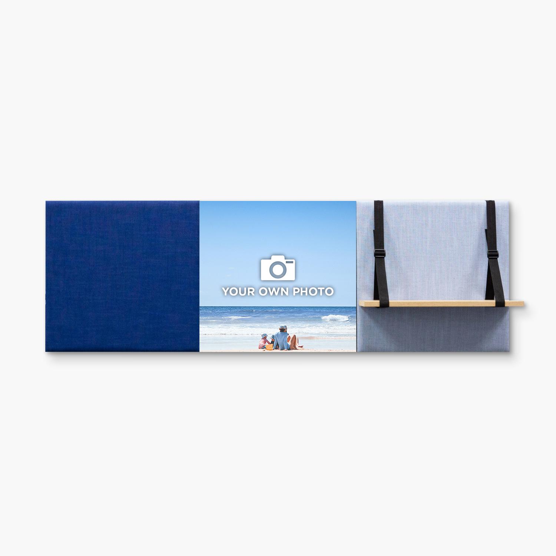 Blauwe wanddeco - set 3 panelen - combi 8