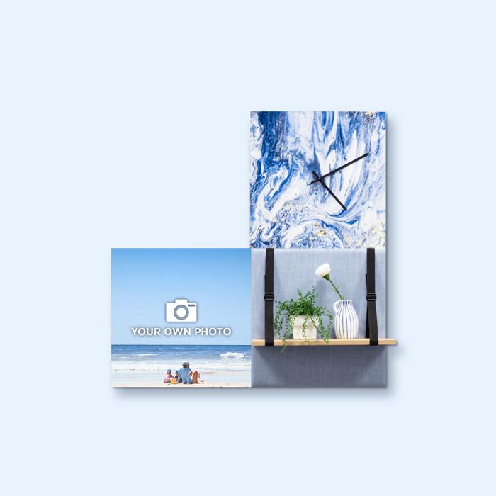 Blauwe wanddeco - set 3 panelen - combi 9