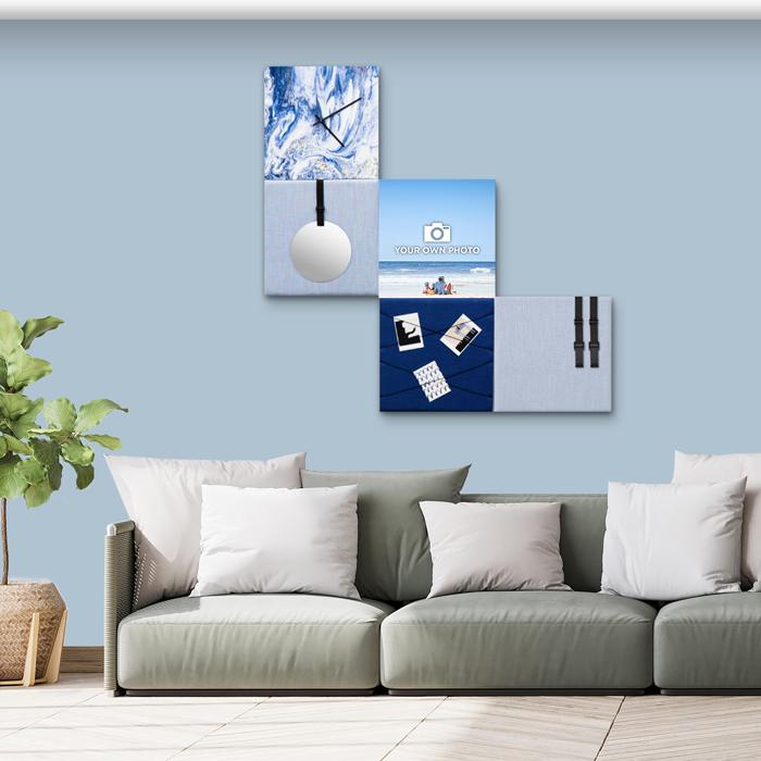 Blauwe wanddeco - set 5 panelen - combi 1
