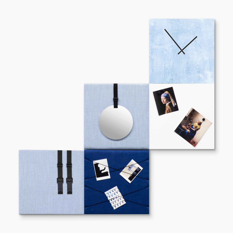 Blauwe wanddeco - set 5 panelen - combi 2