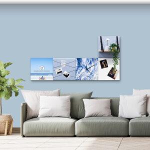 Blauwe wanddeco - set 5 panelen - combi 4