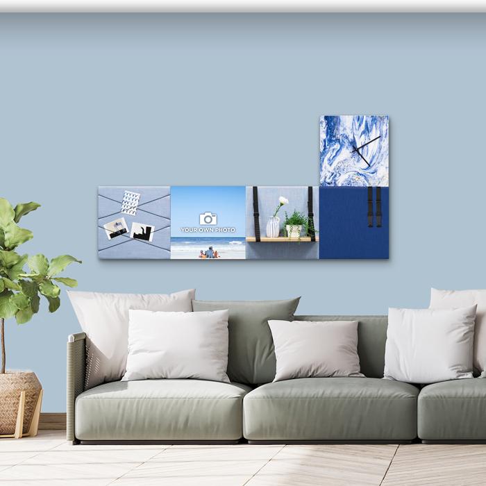 Blauwe wanddeco - set 5 panelen - combi 5