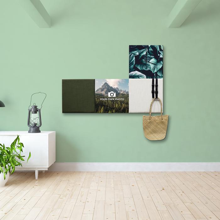 Groene wanddeco - set 4 panelen - combi 2