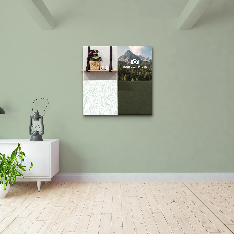 Groene wanddeco - set 4 panelen - combi 3