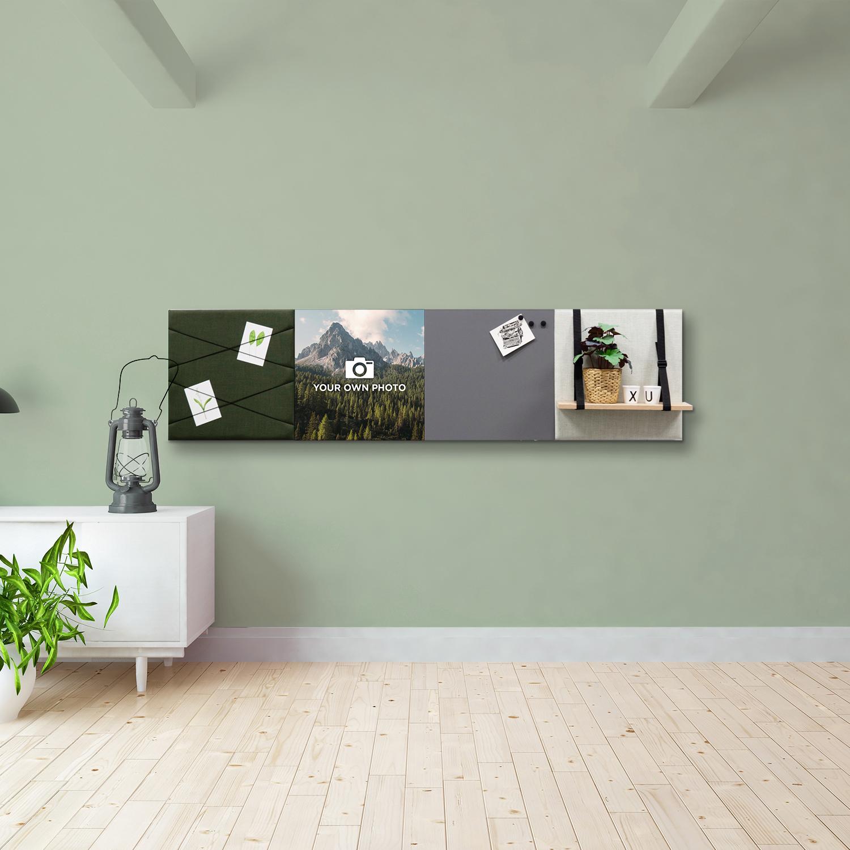 Groene wanddeco - set 4 panelen - combi 4