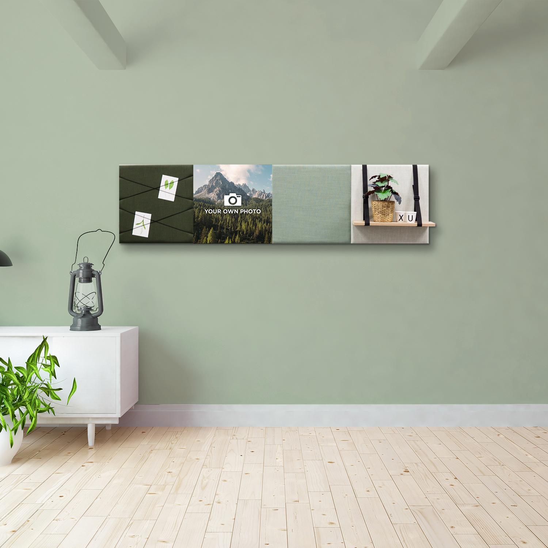Groene wanddeco - set 4 panelen - combi 6