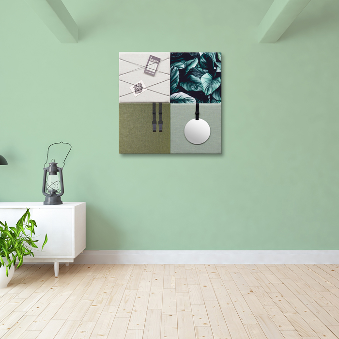Groene wanddeco - set 4 panelen - combi 8
