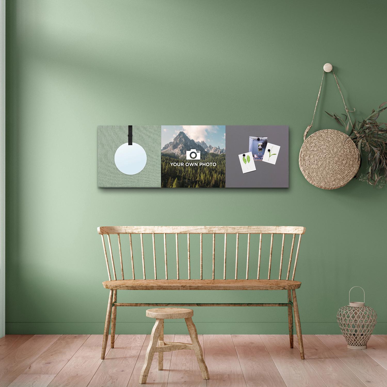 Groene wanddeco - set 3 panelen - combi 2