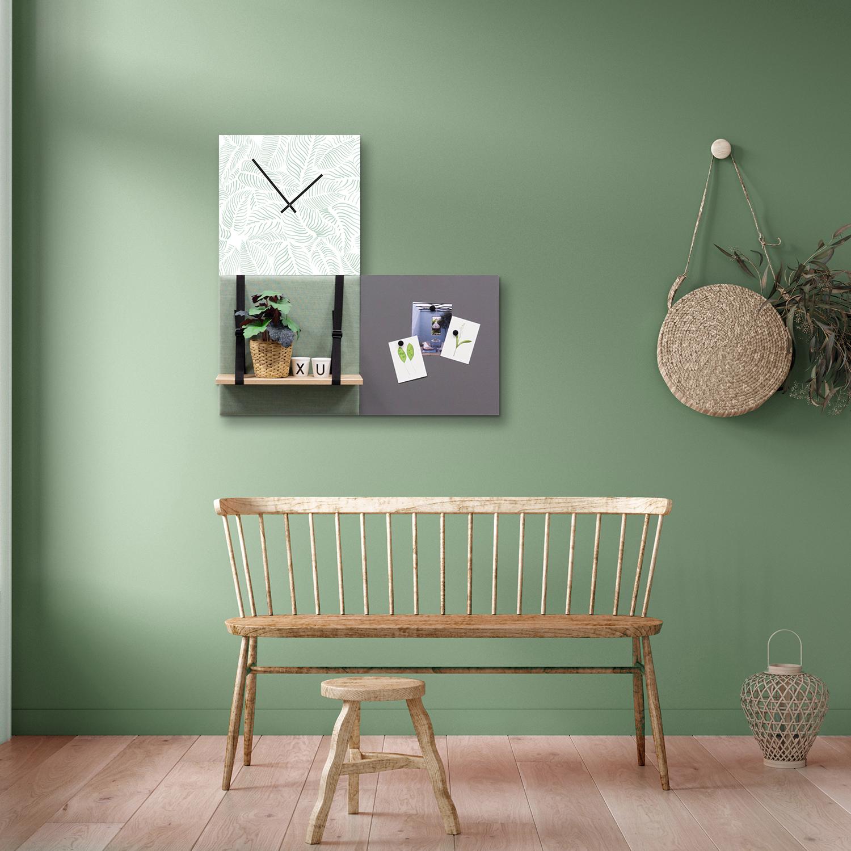 Groene wanddeco - set 3 panelen - combi 4