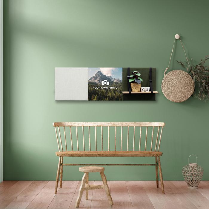 Groene wanddeco - set 3 panelen - combi 6