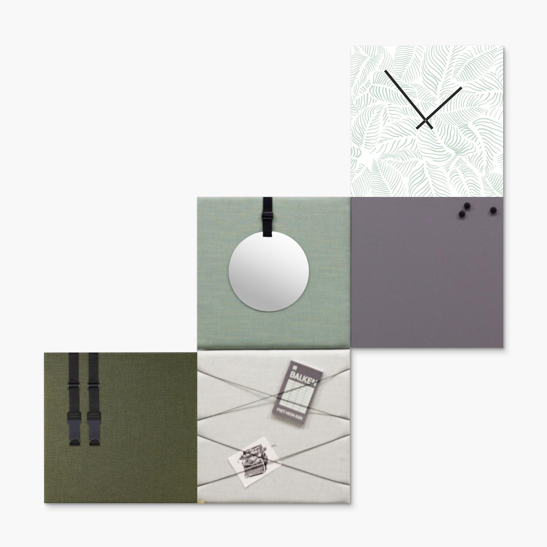 Groene wanddeco - set 5 panelen - combi 1