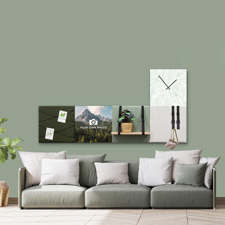 Groene wanddeco - set 5 panelen - combi 3