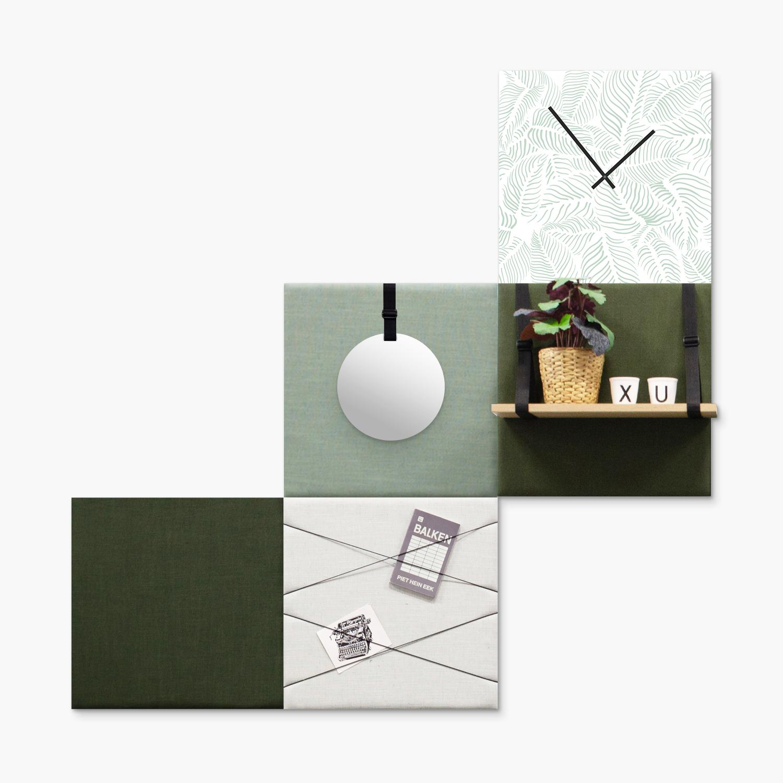 Groene wanddeco - set 5 panelen - combi 5