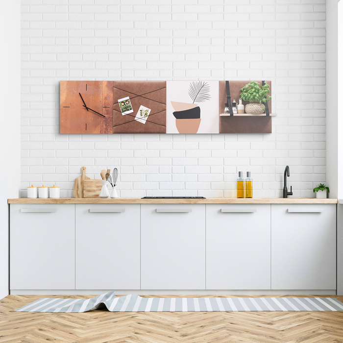 Bruine wanddeco - set 4 panelen - combi 11