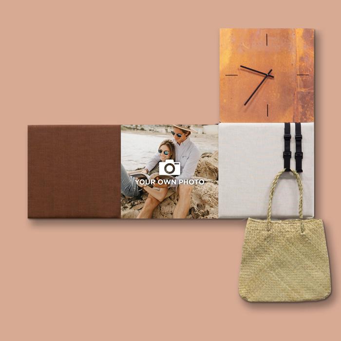 Bruine wanddeco - set 4 panelen - combi 1