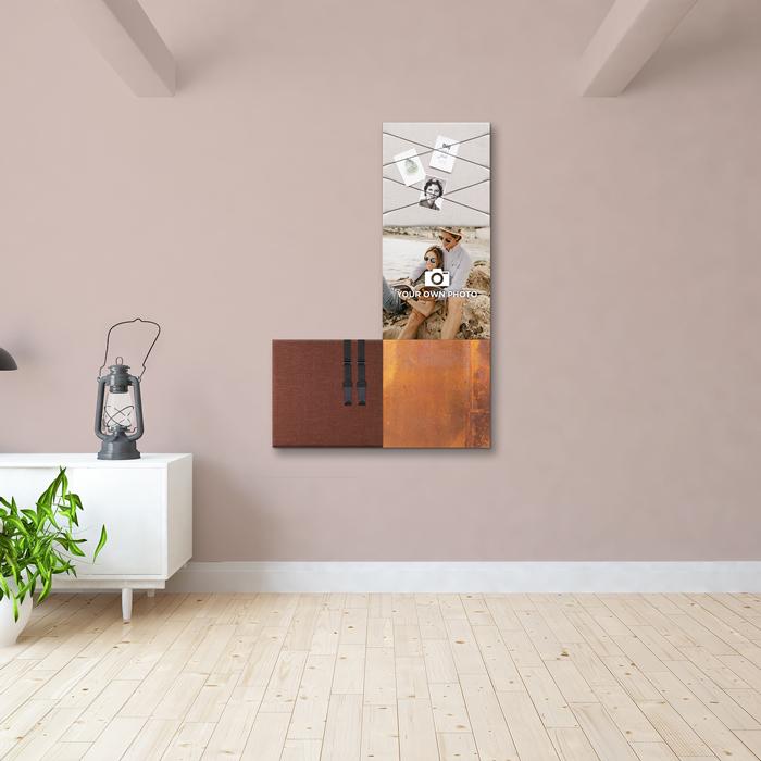 Bruine wanddeco - set 4 panelen - combi 6