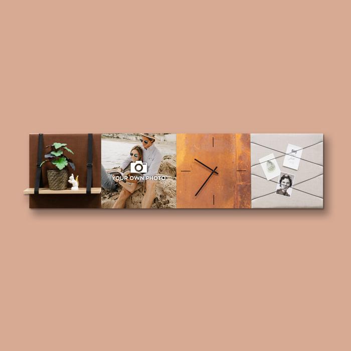 Bruine wanddeco - set 4 panelen - combi 7