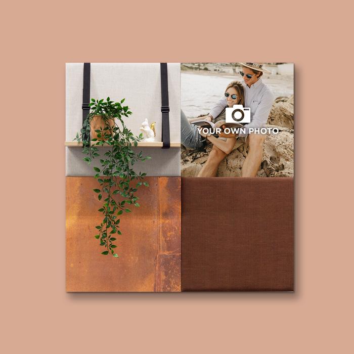 Bruine wanddeco - set 4 panelen - combi 8