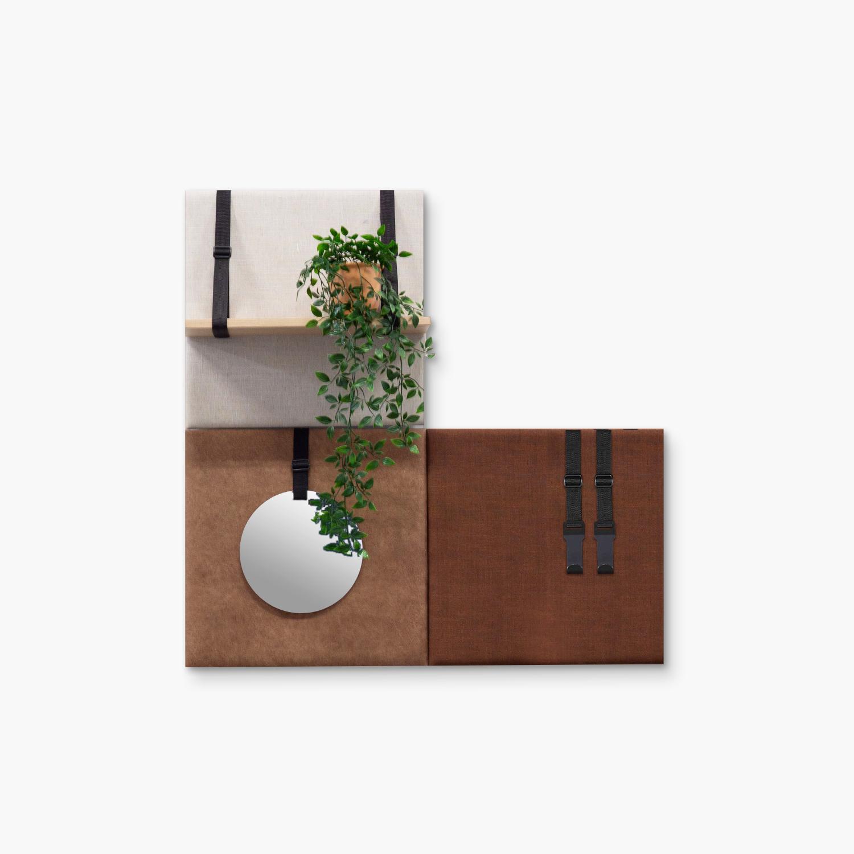 Bruine wanddeco - set 3 panelen - combi 10