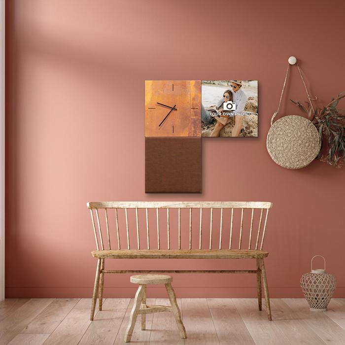 Bruine wanddeco - set 3 panelen - combi 12