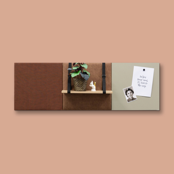 Bruine wanddeco - set 3 panelen - combi 1