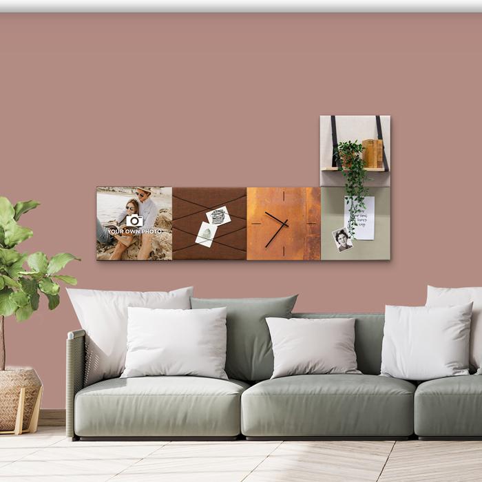 Bruine wanddeco - set 5 panelen - combi 2
