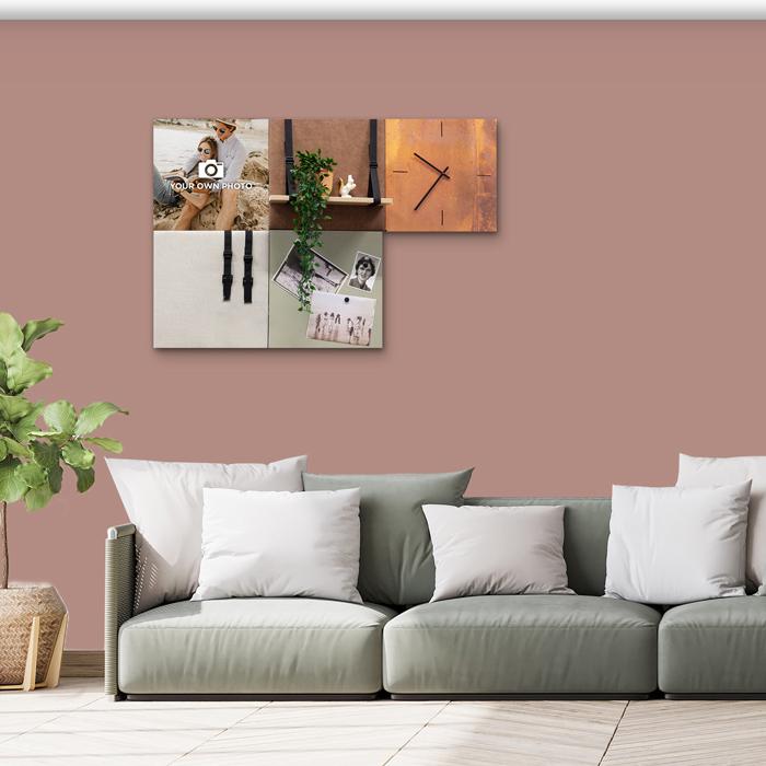 Bruine wanddeco - set 5 panelen - combi 3