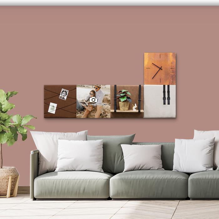 Bruine wanddeco - set 5 panelen - combi 4