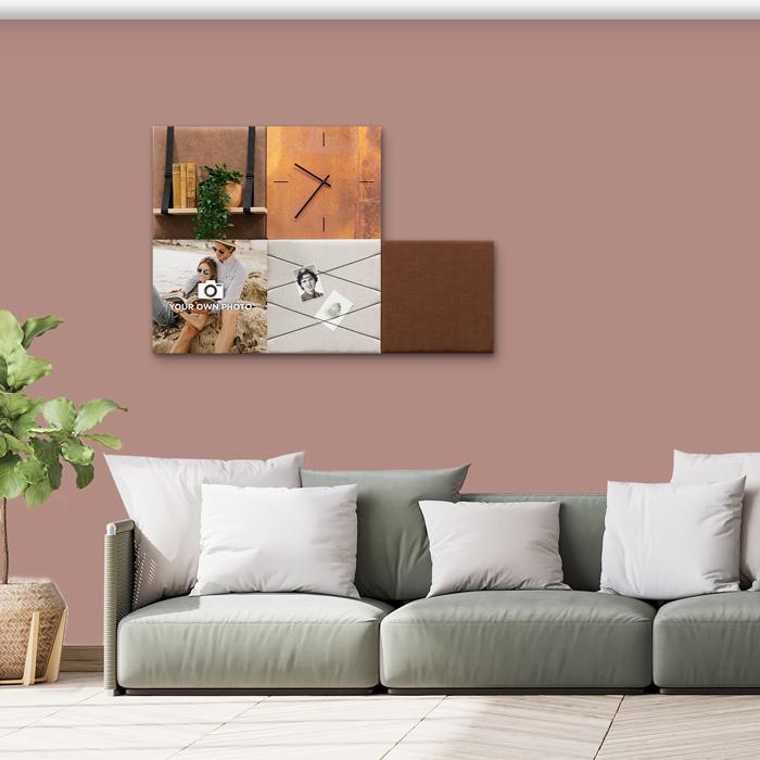 Bruine wanddeco - set 5 panelen - combi 6