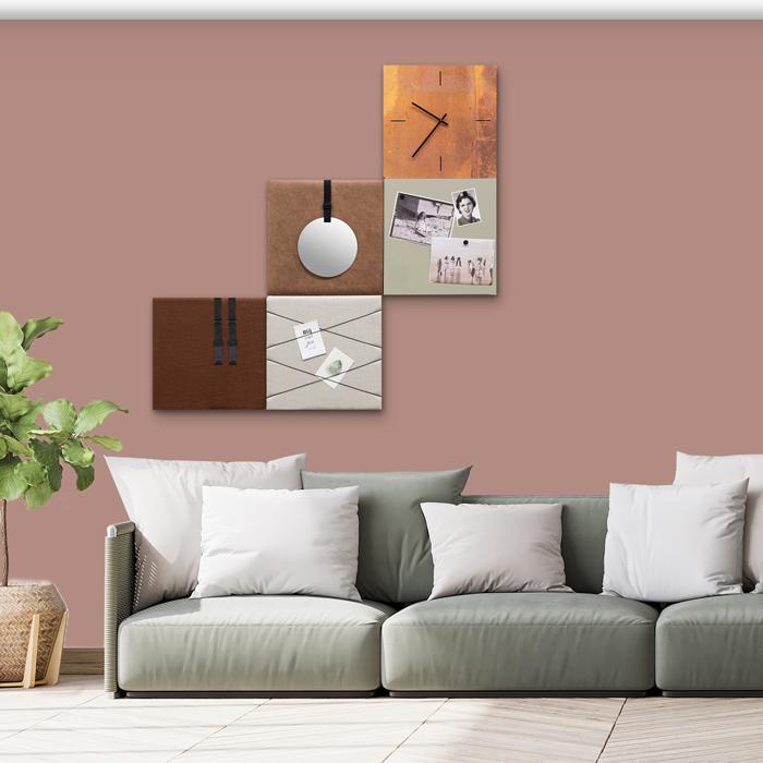 Bruine wanddeco - set 5 panelen - combi 7