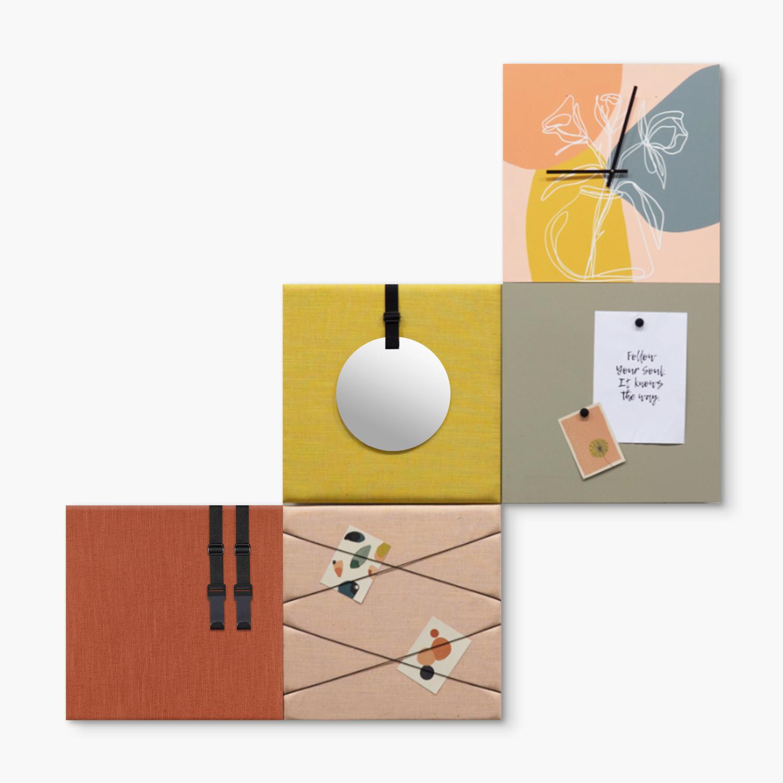 Kleurrijke wanddeco - set 5 panelen - combi 1