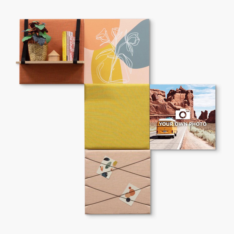Kleurrijke wanddeco - set 5 panelen - combi 3