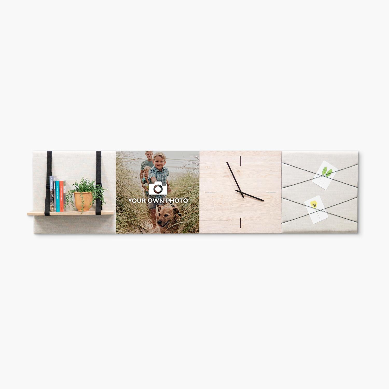 Beige (off white) wanddeco - set 4 panelen - combi 5