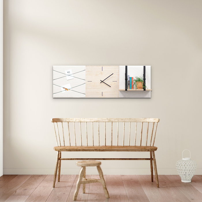 Beige (off white) wanddeco - set 3 panelen - combi 8