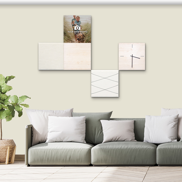 Beige (off white) wanddeco - set 5 panelen - combi 10